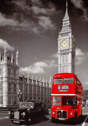 London Red Bus Against Black and White