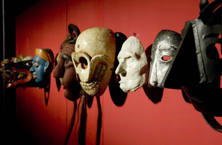 Collection of masks at the Wellcome Collection