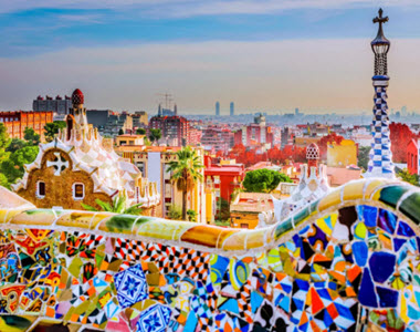 Barcelona city colourful