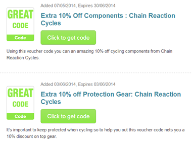 Extra $15 Off With Code. Chain Reaction Cycles has huge online savings on top cycling brands! Shop this sale now for up to 83% off thousands of clearance items, including bicycles, clothing, gear, and more, plus an extra $15 off your $+ purchase with this Chain Reaction Cycles promo code!