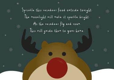 Rudolph printable label for reindeer food Christmas stocking filler