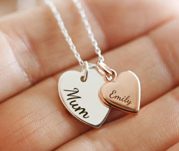 Double heart charm pendant from NOTHS