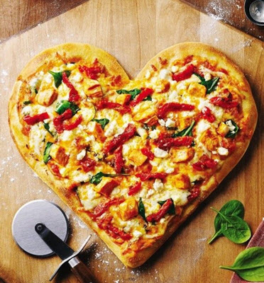 Romantic pizza night in