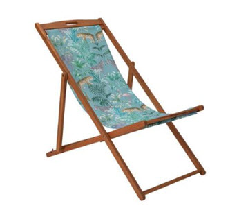 Argos Home Wooden Deck Chair with Jungle Pattern