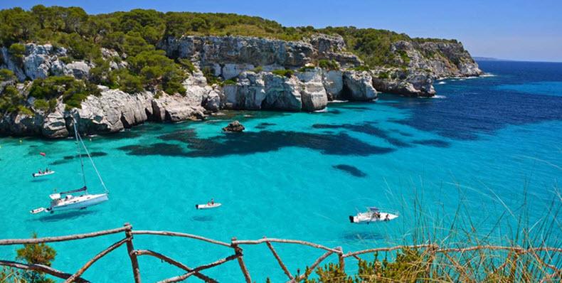 Menorca clear waters in Spain