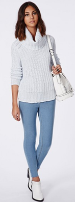 Missguided white jumper and jeans