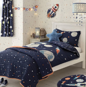 outer space printed blue bedset