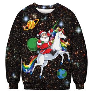 Santa riding on a unicorn jumper