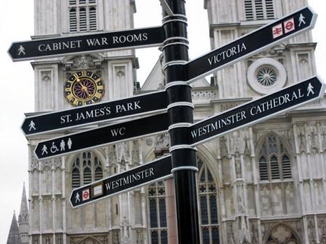 Sign post to London Landmarks