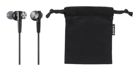 sony in ear headphones with pouch
