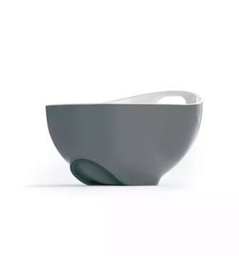 grey tilted mixing bowl