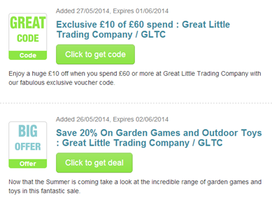 Great Little Trading Company Promo Codes for November Save 25% w/ 22 active Great Little Trading Company Sales. Today's best qq9y3xuhbd722.gq Coupon Code: 20% Off on Orders Over £75 at Great Little Trading Company (Site-wide). Get crowdsourced + verified coupons at Dealspotr.5/5(1).