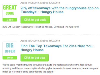 Hungry House voucher codes