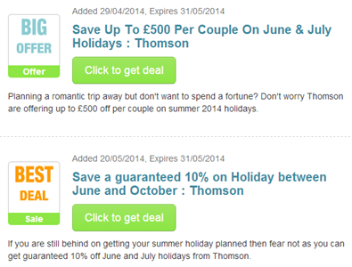 Thomson voucher codes
